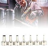 7 unids / set 3-12mm Acero inoxidable Pistola de aire caliente Kit de boquilla, herramientas de Estación de soldadura Pistola de arma Accesorios de punta Ajustable Temperatura Pistola de calor Tsui