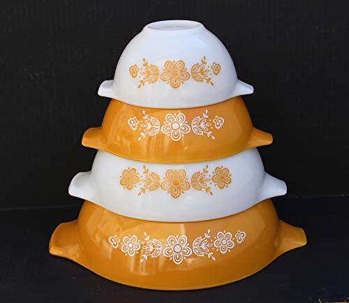 Pyrex 4 Piece Set Butterfly Gold Cinderella Mixing Nesting Bowls