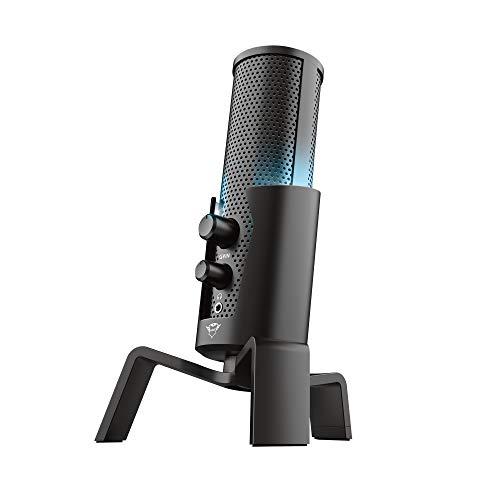 Trust Gaming GXT 258 Fyru Micrófono USB con 4 patrones de grabación: cardioide, bidireccional, estéreo y omnidireccional, latencia cero, LED 5 colores, para PC, PS4 y PS5 - Negro