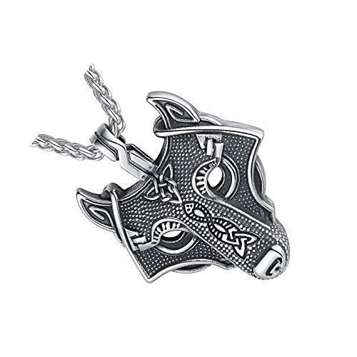 Viking Celtics - Collar de plata con colgante de cabeza de lobo religioso Odin Power espiritual