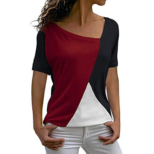 Blusa de Mujer Tops Tops Largos para Manga Corta Patchwork con Estampado de Leopardo Camiseta a Rayas Camisa de Flores de Manga Corta de Verano con Estampado de túnica Larga con Cuello Redondo Suelto