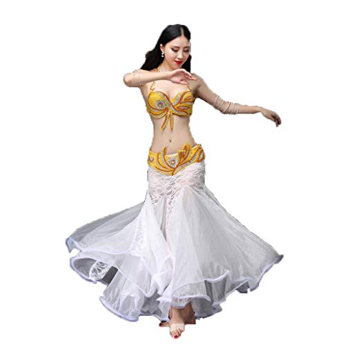 Vientre Dance Traje Vientre Danza Danza Vientre Danza Falda Sujetador Falda (Color : Yellow, Size : S)