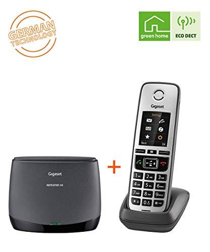 Gigaset Repeater HX + Family IP-Telefon - DECT Repeater und schnurloses Universal-Mobilteil für die Anbindung an alle gängigen Router, schwarz/anthrazit-grau