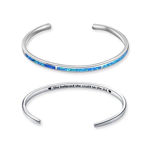 WINNICACA Oktober Birthstone Armband Sterling Silber erstellt Blue Opal verstellbare Manschette Armreif Schmuck Geschenke für Frauen Geburtstag, graviert