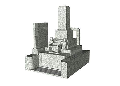 【墓石・お墓】御影石(墓石 外柵) 石のサンポウ オリジナル和型墓石 A-W1 基礎工事 字彫り(表面 背面 戒名2 家紋)付き 据付工事含む (白)