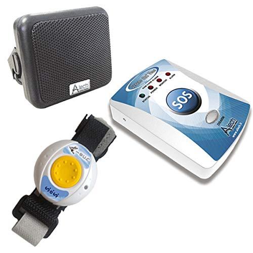 ALECH Sereno huisnoodoproep via mobiele telefoon, noodoproepsysteem met noodoproepknop op het apparaat en draadloze noodoproeparmband SERENO SOS PLUS