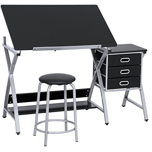 Best Choice Products Adjustable Office Drawing Desk Station Drafting Table Set w/Stool Chair - Silver/Black