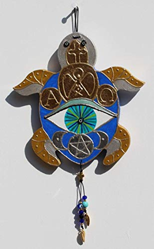 Feng Shui Schildkröte BELLONA für Glück und Schutz in Saphir-Blau, Edle Talisman Deko mit Auge für Tür und Eingang, Geschenk für Einzug und Einweihung, Eye of Hilarion Glücksbringer Design-Serie