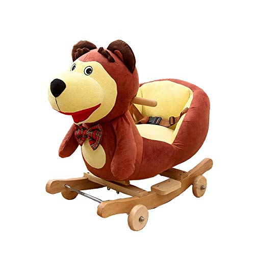 Rocking Chair 2 In 1 Brown Dog Rocking Horse, Kid Ride on Toy, Toddler Rocker for 1-3 Year Old, Girl&Boy Wooden Rocking Horse, Outdoor &Indoor Rocking Toy, Infant Rocking Animal, Ride on Animal Rocker