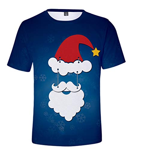 KPILP Herren Damen Weihnachtspullover Paar T-Shirt Weihnachtsshirt Tanz Drucken Shirt Kurzarm Bluse Fun Shirt Mit Rundhals-Ausschnitt Weihnachten Geschenk