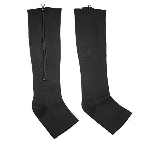 Emoshayoga Calcetines de compresión Calcetines Ligeros con Soporte para Las Rodillas para Reducir la hinchazón y Aumentar la circulación(Black, L/XL)