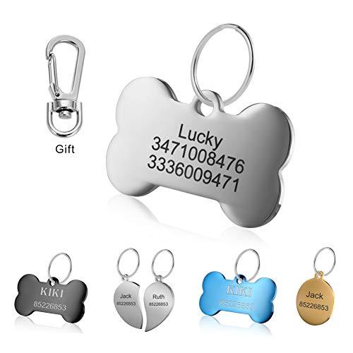 Personalisiert Haustier ID Tag Hund Mit Katzen Tag mit Gravur Service Hundemarke Anhaenger aus Edelstahl (Knochen(L), Silber)