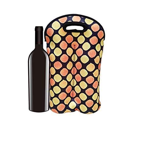 QAZSE Bolsa portátil de neopreno para botella de vino con 2 botellas aisladas, reutilizable, gruesa, con asas para viajar, lunares naranja