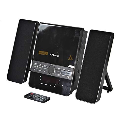 Craig Electronics CM427BT-BK Mini 3-Piece CD Shelf Stereo System with AM/FM Radio and Bluetooth