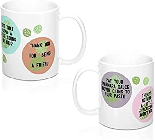 Golden Girl Coffee Mug Set of 2: Funny Sassy Quotes, Vintage Beachy Leaf Design - Thank You For Being A Friend, Cheesecake