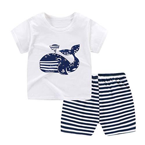 Fairy Baby des Gamins Garçons Filles Ensemble de vêtements 2pcs Tee-Shirt à Manches Courtes + Bas Size 2-3 Ans (Whale)