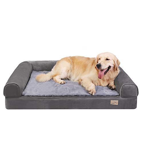 Bingopaw Cama para Perro Ortopédica, Colchón de Esponja para Perros con Funda Extraíble, Sofá Cama Impermeable y Lavable para Perros Grandes, Color Gris, 95 x 72 x 22cm