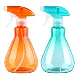 URATOT 2 Pieces Mist Spray Bottles Empty Plastic Bottles Trigger Sprayer for Cleaning, Gardening, Feeding, 500ml (green+orange)
