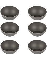 Pandoo - Juego de 6 cuencos de bambú, sin BPA, aptos para alimentos, para pícnic y camping, para el uso diario, aptos para lavavajillas y apilables