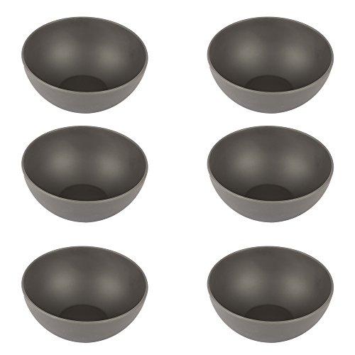 Pandoo - Juego de 6 cuencos de bambú, sin BPA, aptos para alimentos, para pícnic y camping, para el uso diario, aptos para lavavajillas y apilables, Negro\r\n, small