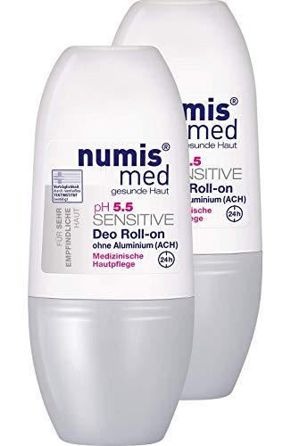 numis med Deo Roll-on ph 5.5 SENSITIVE - Hautpflege vegan & ohne Aluminium - Deodorant für sensible, feuchtigkeitsarme & zu Allergien neigende Haut im 2er Pack (2x 50 ml)