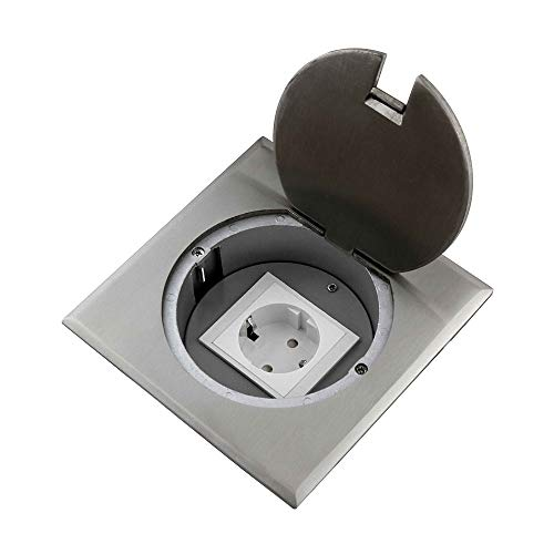 Einbausteckdose Fußbodensteckdose Steckdose 1 x Schuko Edelstahl für Boden & Wand Klappdeckel Rund/Rand eckig