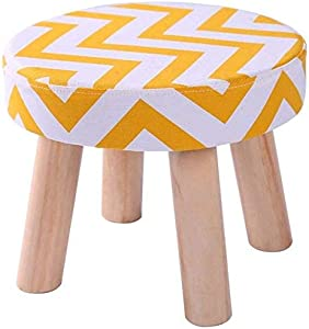 LAZNG Padded Pouf Ottoman Footrest Stool w/Removable Linen Cover and Non-Skid Wooden Legs