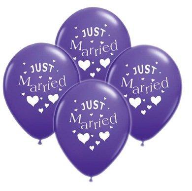 Princess Drea,s Luftballons Hochzeitsdeko Just Married lila violett - 10 Stück - 28cm