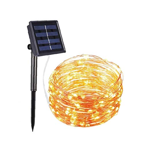 NaiCasy Solar Light 10Meter 100LED LED Solar Fairy Lights 8 Modes Copper Wire Lights Waterproof Outdoor Lights for Garden Patio Party Warm White 1Set