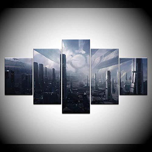 ZHANGGONG 5 Paneles Cuadros En Lienzo Imágenes Decorativas Wall Art Decoración del Hogar Impresiones HD Póster Mural De La Decoración De La Pared Mass Effect Ciudadela Mural Cuadro/150X80CM