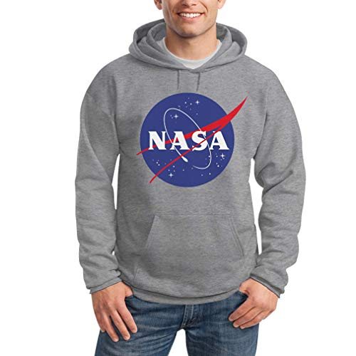 NASA Logo Galaxy Streetwear Outfit Felpa con Cappuccio da Uomo Small Grigio