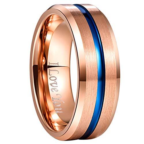 NUNCAD Herren gestochen ich liebe dich tungsten unisex ring 8 mm breite modeschmuck ring für hochzeit verlobung 52-72 rosegold + blau rosegold+blau