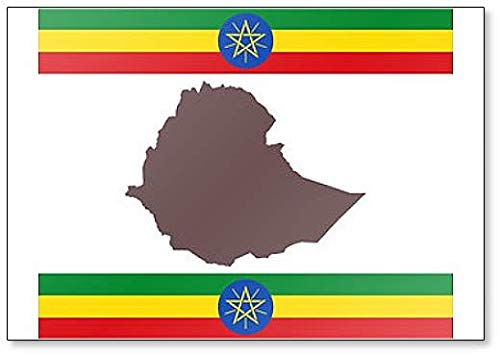 Kühlschrankmagnet Landkarte Von Aethiopien Auf Hintergrund Mit Fahne