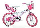 Minnie Maus Kinderfahrrad Mädchenfahrrad – 14 Zoll | Original Disney Lizenz | Kinderrad mit Stützrädern, Puppensitz und Fahrradkorb - Das Minnie Maus Fahrrad als Geschenk für Mädchen