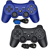PS3 Controller Wireless, PS3 Controller Gamepad Compatible with Playstation 3, Double Vibration Controller with Charging Cable (Black Blue)