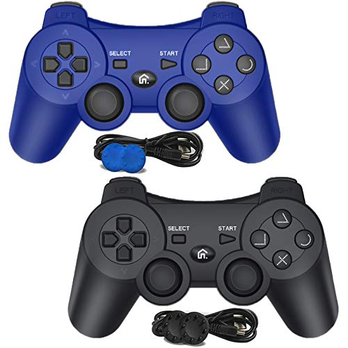 PS3 Controller Wireless, PS3 Remote Controller Gamepad Joystick Compatible with Playstation 3, Double Vibration Controller with Charging Cable