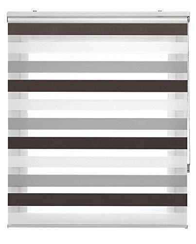 Estoralis Loras Estor Enrollable Doble Tejido, Noche y día, Marron-Gris, 125 x 175 cm