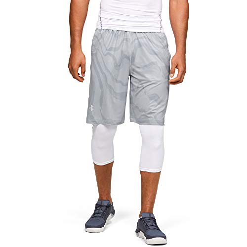 Under Armour Men's Raid Printed 10-inch Shorts, Halo Gray (050)/White, Large
