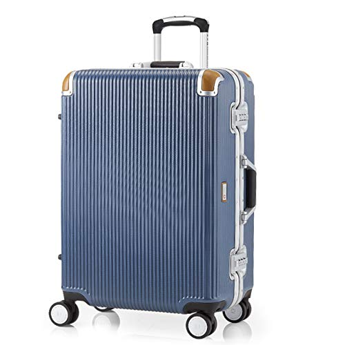[スイスミリタリー] Premium プレミアム スーツケース Type C アルミフレームタイプ 天然皮革プロテクター TSAロック 軽量 傷防止 [SWISS MILITARY]/Mサイズ 24インチ 64L ブルー(SM-C624N/Pacific