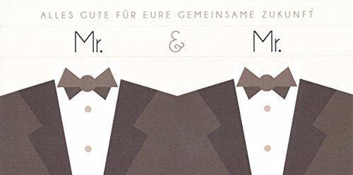 Hochwertige Hochzeitskarte, Glückwunschkarte, gleichgeschlechtlich Mann & Mann Model Sakko