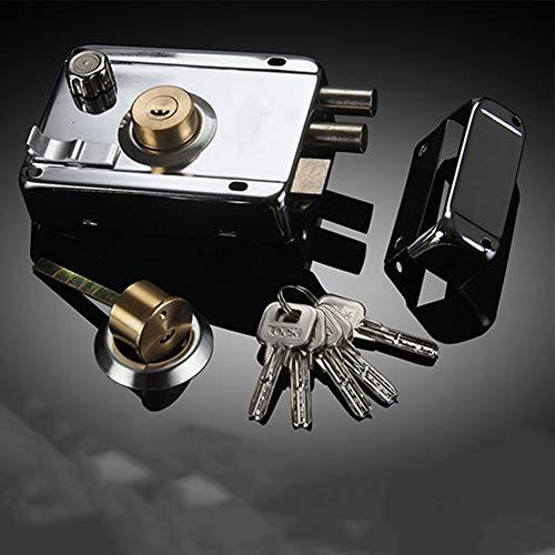 FADDARE Roma Deadlock - Cerradura de puerta de acero inoxidable con mando a llave, accesorio exterior para puerta de madera o puerta