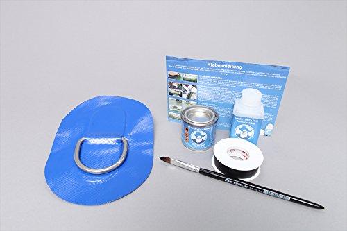 Set: D-ring + lijm kit, beslag om op te plakken voor opblaasbare boten (blauw) DR-K4