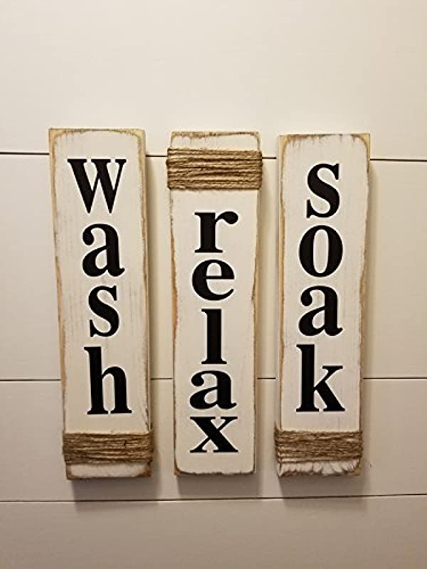 Rustic Bathroom Signs Wash Relax Soak White Farmhouse Wooden Signs For Bathroom Decor Primitive Wood Signs Set Of Three