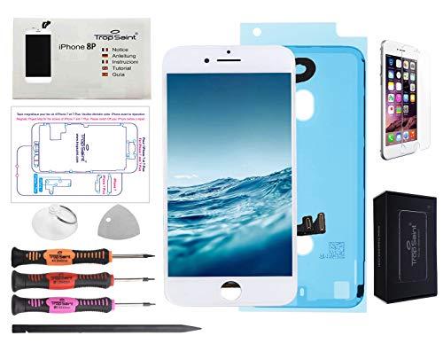 Trop Saint Pantalla Blanco para iPhone 8 Plus Completa Premium Kit de reparación LCD con Guía, Herramientas, Film Protector Pantalla y Pegatina Adhesiva Impermeable
