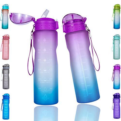 Goothdurs Botella de agua motivacional de 32 onzas con marcador de tiempo y pajita para beber, a prueba de fugas, sin BPA, no toxinas para gimnasio, correr al aire libre