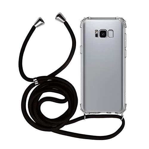 MyGadget Funda Transparente con Cordón para Samsung Galaxy S8 - Carcasa Cuerda y Esquinas Reforzadas en Silicona TPU - Case y Correa - Negro