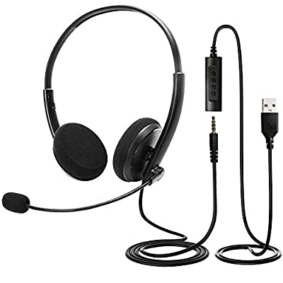 LotFancy USB Headset, Corded PC Headphone with ...
