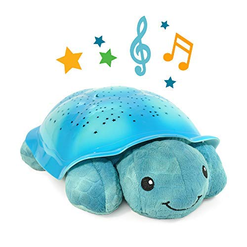 Night Light Star Projector with Soothing Melodies, Twinkling Twilight Turtle - Aqua