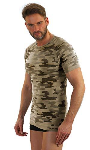 Sesto Senso® heren camouflage t-shirt militair functioneel ondergoed korte mouwen of lange mouwen onderhemd functioneel shirt sportkleding camo fiets motor vissen jagen - thermisch