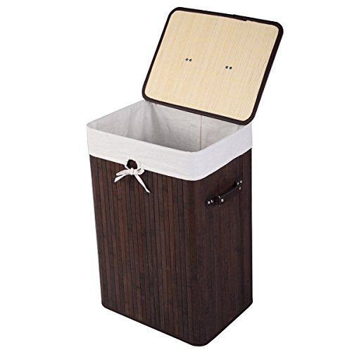 wicker hamper with liner and lid - 2